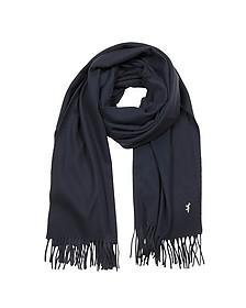 Navy Blue Fringed Wool Scarf - Maison Kitsuné