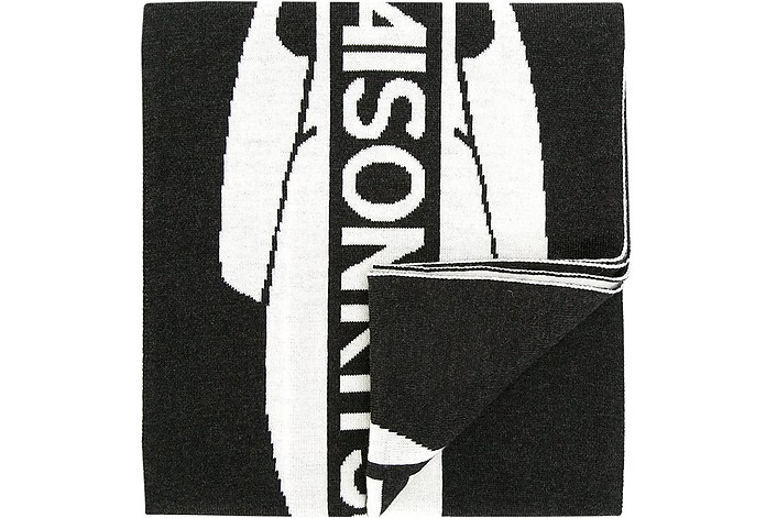 Black & White Supporter Wool Scarf - Maison Kitsuné