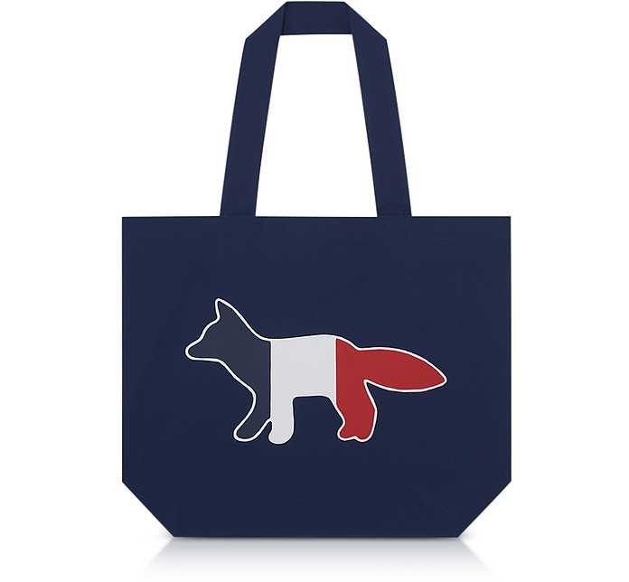 top design price reduced look good shoes sale Tricolor Fox Patch Canvas Tote Bag