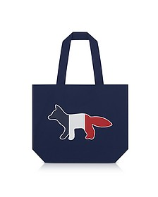 Tricolor Fox Patch Canvas Tote Bag - Maison Kitsuné