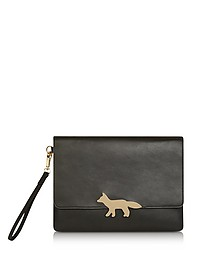 Golden Fox Black Leather Clutch w/Wristlet - Maison Kitsuné