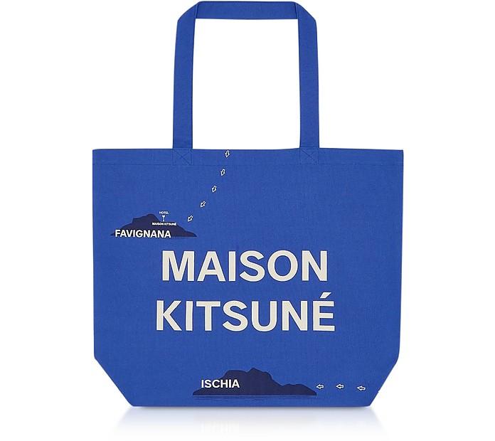 Allover Mappa Canvas Tote Bag - Maison Kitsuné