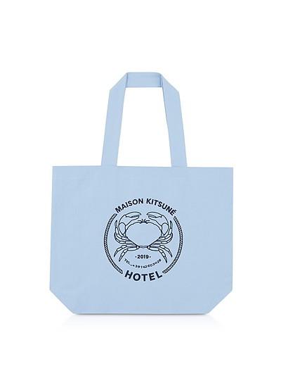 """Shopper """"Hotel"""" aus Canvas in hellblau - Maison Kitsuné"""
