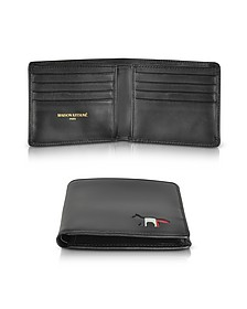 Black Leather Tricolor Men's Wallet - Maison Kitsuné