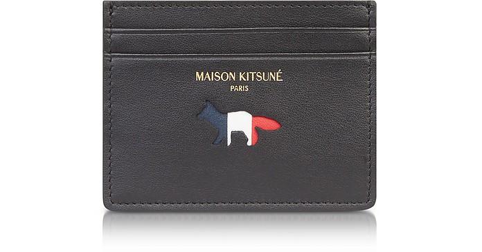 Black Leather Tricolor Credit Card Holder - Maison Kitsuné