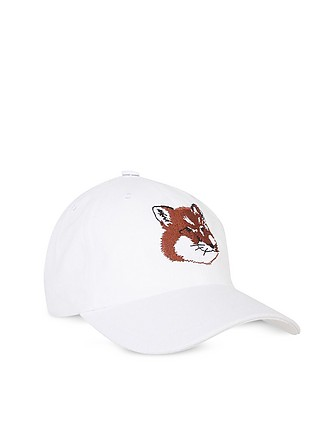 7c2443484a811 Large Fox Head 6P Cotton Blend Baseball Cap - Maison Kitsuné