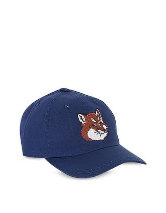 e323a555da2c4d Large Fox Head 6P Cotton Blend Baseball Cap - Maison Kitsuné