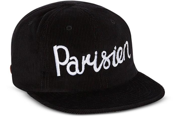 Corduroy Parisien Black Baseball Cap - Maison Kitsuné