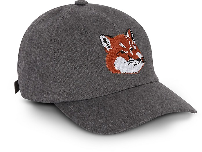 Maison Kitsuné Fox Head 6P Caviar Cotton Blend Baseball Cap at FORZIERI d28ee6438c5