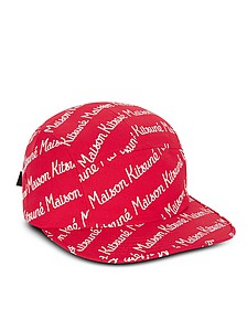 Maison Kitsune 5P Red Cotton Canvas Baseball Cap - Maison Kitsuné