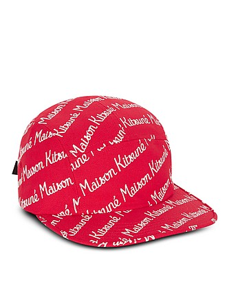 568876ce34f220 Maison Kitsune 5P Red Cotton Canvas Baseball Cap - Maison Kitsuné
