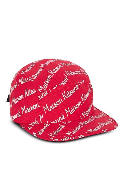 9bea4a752 Maison Kitsune 5P Red Cotton Canvas Baseball Cap