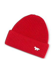 Red Wool Knitted Hat - Maison Kitsuné