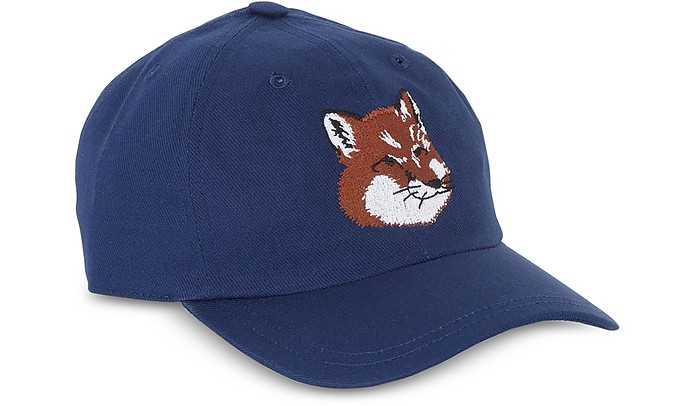 Maison Kitsuné Large Fox Head 6P Navy Blue Cotton Blend Baseball Cap ... f71c1ae5bcd