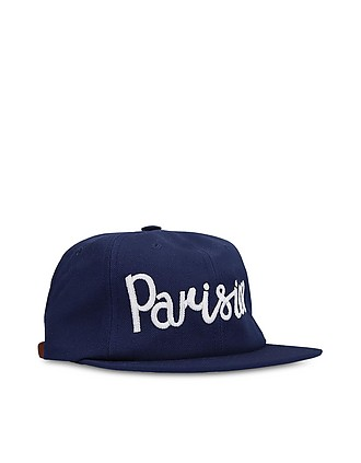 e0cc6f3cbc5c3 Maison Kitsuné. Parisian Embroidered Navy Blue Cotton Blend Baseball Cap…