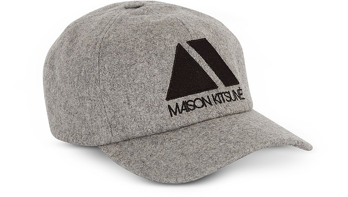 Light Grey Wool Blend 6P Triangle Baseball Cap - Maison Kitsuné