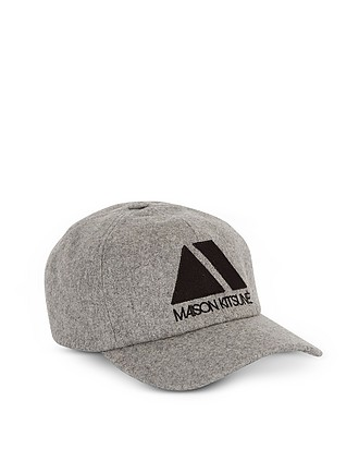 868b93493c67a Light Grey Wool Blend 6P Triangle Baseball Cap - Maison Kitsuné