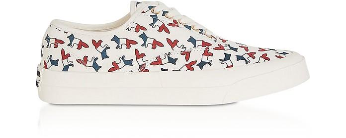 All-Over Tricolor Fox Canvas Sneakers - Maison Kitsuné