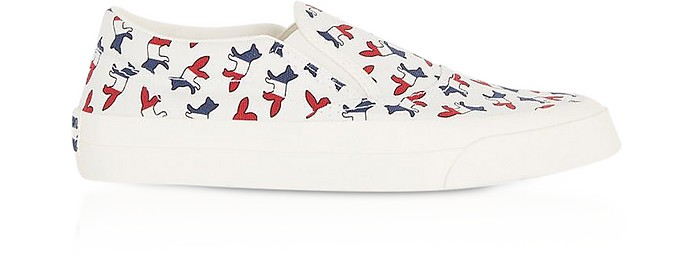 All-Over Tricolor Fox Slip-On Sneakers - Maison Kitsuné