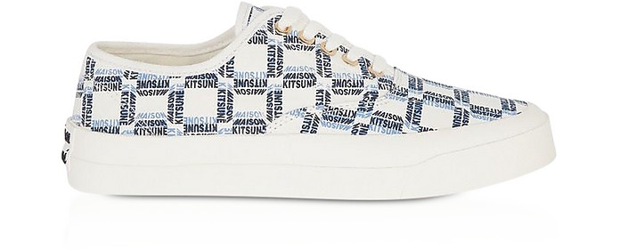 All-Over Rectangle Laced Canvas Sneaker - Maison Kitsuné