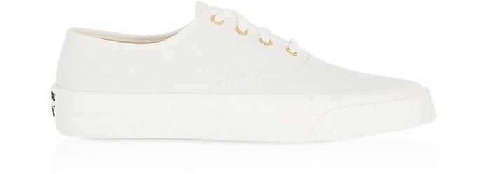White Canvas Laced Sneakers - Maison Kitsuné