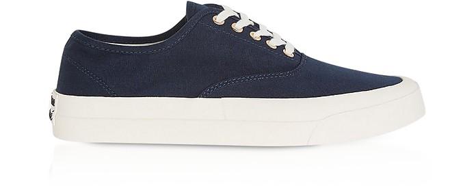 Navy Blue Canvas Laced Sneakers - Maison Kitsuné