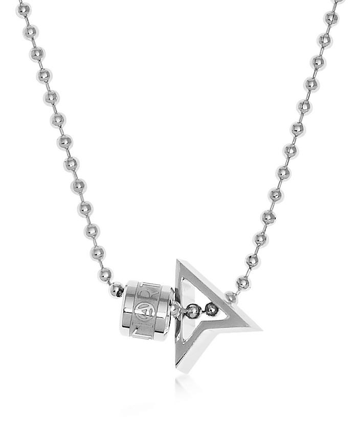 NORTHSKULL Silver North Pendant W/ Logo Wheel & Ball Necklace