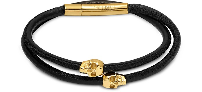 Skull Wrap Around Bracelet Black Leather & Yellow Gold - Northskull