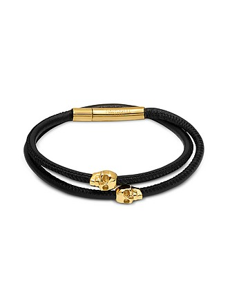7242d8a6721 Skull Wrap Around Bracelet Black Leather & Yellow Gold - Northskull