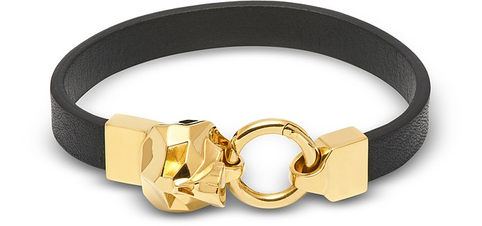 Hexagus Skull Leather Bracelet_Yellow Gold - Northskull / ノーススカル