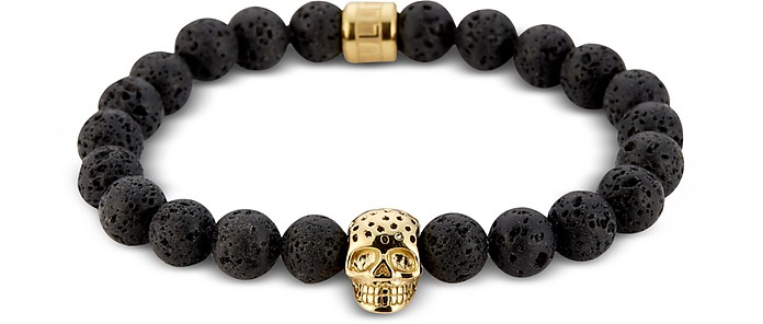 Lavastone & Perforated Gold Skull Charm Bracelet - Northskull