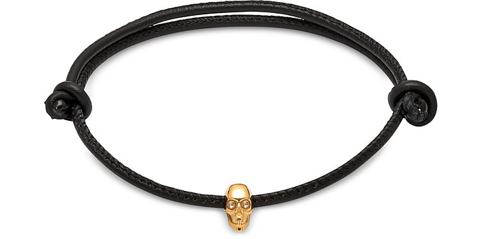Skull Friendship Bracelet_White Swarovski Black Leather & Yellow Gold - Northskull