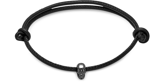 Skull Friendship Bracelet w/White Swarovski Black Leather & Silver - Northskull / ノーススカル