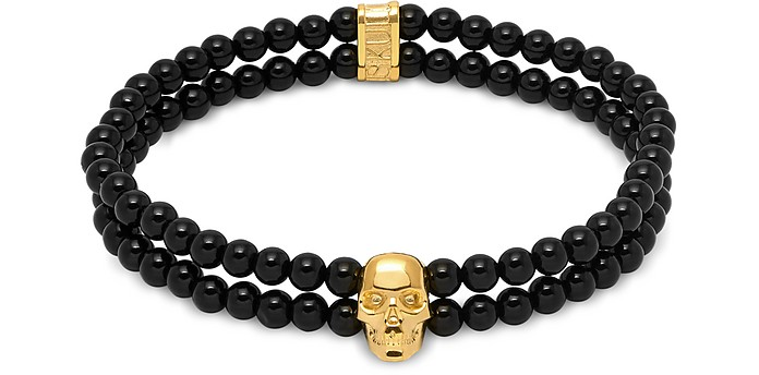 Double Row Beaded Bracelet With Skull Charmin Black Onyx & Gold - Northskull