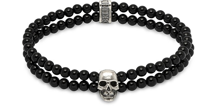 Double Row Beaded Bracelet With Skull Charmin Black Onyx & Silver - Northskull
