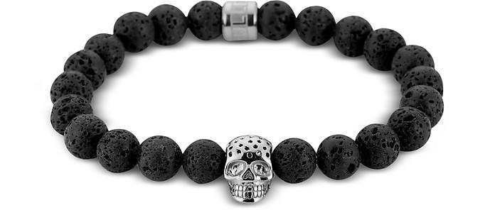 Lavastone & Perforated Silver Skull Charm Bracelet - Northskull