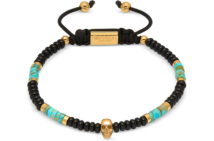 Atticus Skull Macramé Bracelet In Black Onyx w/ Turquoise And Yellow Gold - Northskull