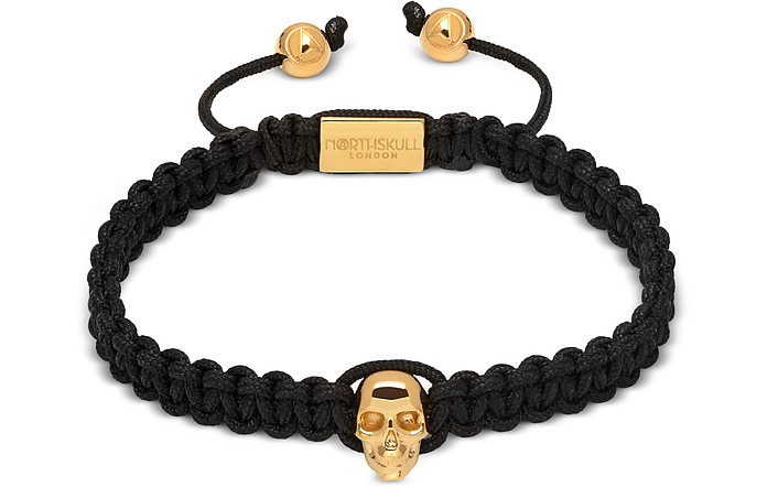 Atticus Skull Macramé Bracelet In Black And Yellow Gold - Northskull