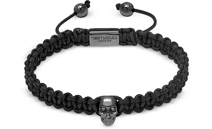 Atticus Skull Macramé Bracelet In Black And Gunmetal - Northskull