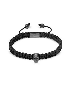 Atticus Skull Macramé Bracelet In Black And Gunmetal