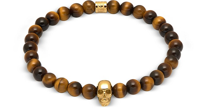 Yellow Tiger Eye And Gold Atticus Skull Bracelet - Northskull