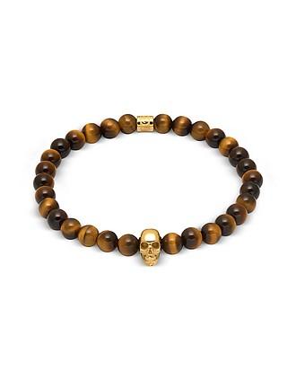 48df337fb78 Yellow Tiger Eye And Gold Atticus Skull Bracelet - Northskull