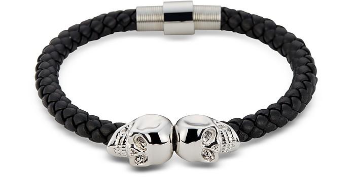 Black Nappa Leather & Rhodium Twin Skull Men's Bracelet - Northskull