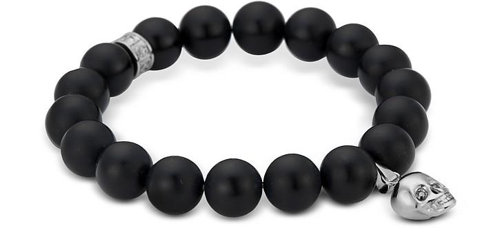 Armband mit Perlen und Totenkopf in silber - Northskull