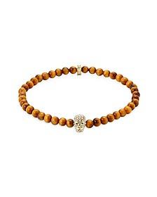 Yellow Tiger Eye Golden & Clear Crystal Micro Skull Bracelet
