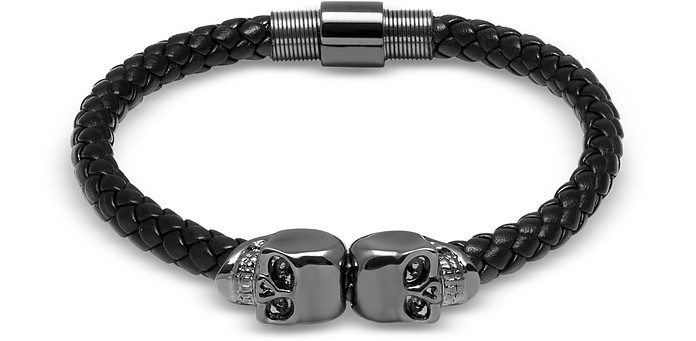 Black Nappa Leather w/ Gunmetal Twin Skull Bracelet - Northskull
