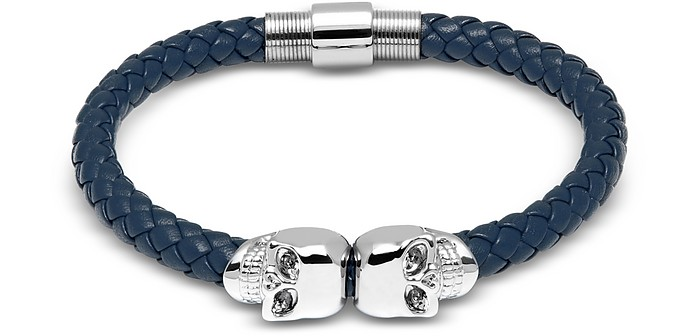 Denim Blue Nappa Leather W/ Silver Twin Skull Bracelet - Northskull