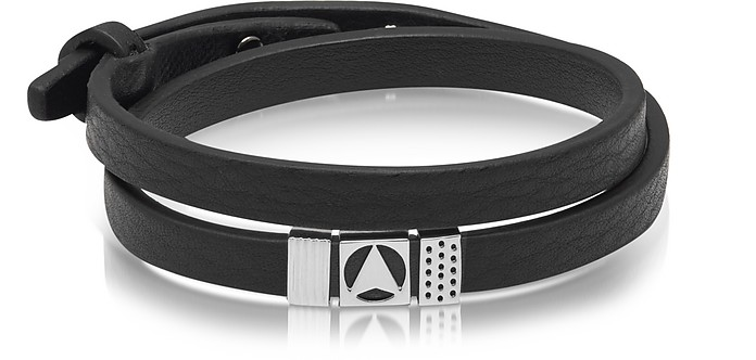 Insignia Black and Silver Double Wrap Bracelet - Northskull
