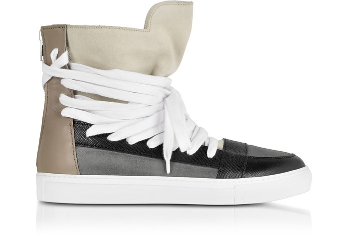 Multi Brown Multilaces High Top Sneaker - Krisvanassche