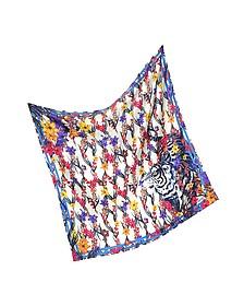 Tiger Floral Mesh Print Silk Square Scarf